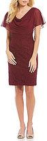 Jessica Howard Draped Cowlneck Lace Sheath Dress