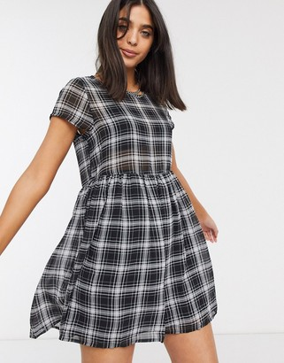 Factorie babydoll smock dress in check
