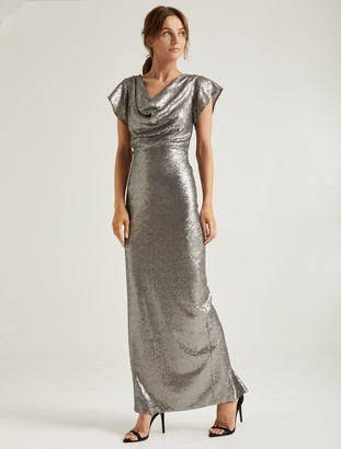 Halston Cowl Sequined Gown