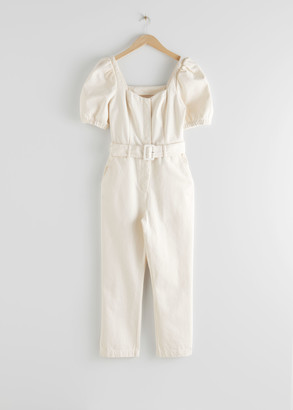 And other stories Belted Puff Sleeve Jumpsuit