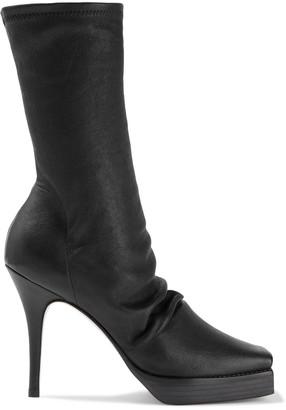 Rick Owens Scorpio Gathered Stretch-leather Platform Sock Boots