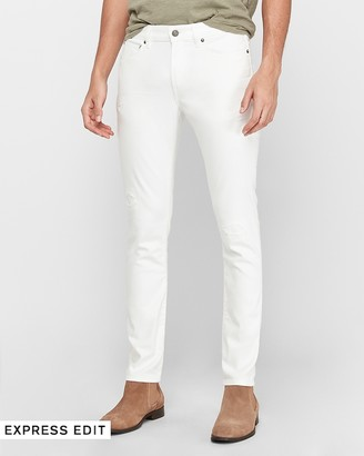 Express Skinny White Ripped Hyper Stretch Jeans