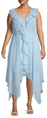 Emma & Michele Plus Ruffle Trim Handkerchief Dress