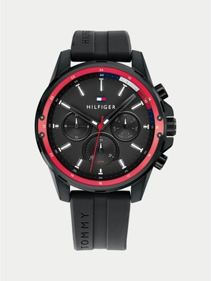 Tommy Hilfiger Multi-Function Sport Watch with Black Silicone Strap