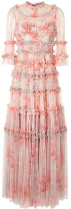 Needle & Thread Ruffle-Trimmed Tulle Dress
