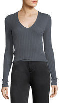 Vince Mixed Rib V-Neck Cashmere Sweater