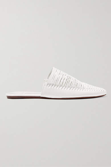 Tory Burch Sienna Woven Leather Slippers - White