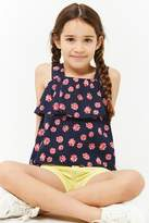 Forever 21 Girls Floral Flounce Top (Kids)