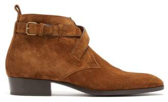 Saint Laurent Wyatt Suede Buckled Boots - Mens - Brown