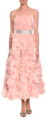 Dolce & Gabbana Strapless Organza & Feather Gown