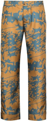 ASCENO Antibes leaf print cropped trousers