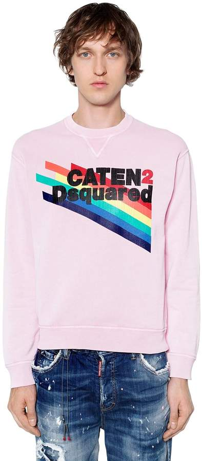 DSQUARED2 Caten2 Printed Cotton Jersey Sweatshirt