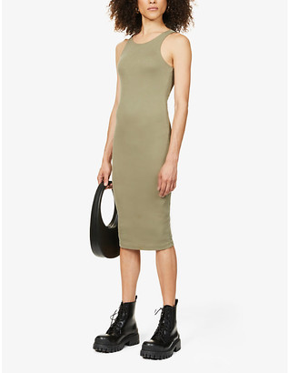 Good American Ribbed sleeveless stretch-knit midi dress