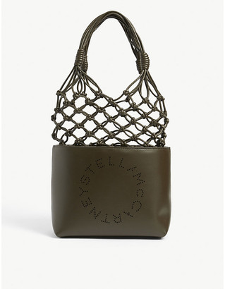 Stella McCartney Logo-perforated knotted faux-leather tote bag