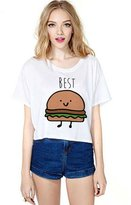 Laugee Women's Summer Casual Style White Short Sleeve T Shirt Printed Best Friends loose Tops With Cartoon