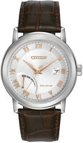 Citizen Eco-Drive Mens Stainless Steel Watch With Brown Leather Strap Aw7020-00A
