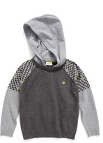 Armani Junior Boy's Contrast Sleeve Sweater With Removable Hood
