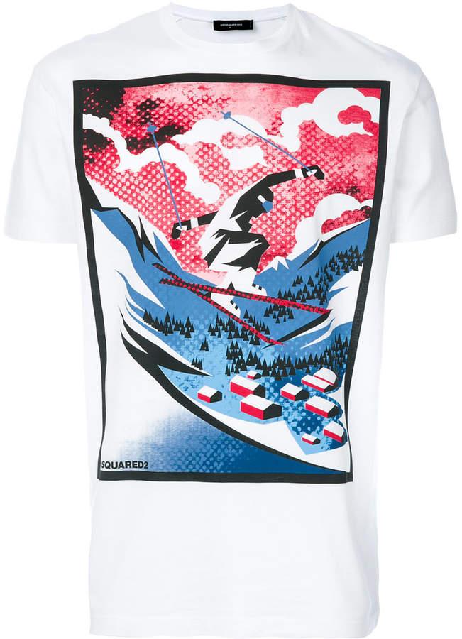 DSQUARED2 skiing print T-shirt