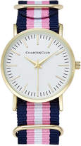 Charter Club Women's Pink, Navy & White Strap Watch 36mm, Only at Macy's