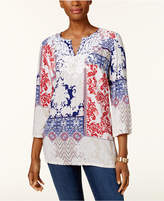 Charter Club Petite Embroidered Printed Split-Neck Tunic, Created for Macy's