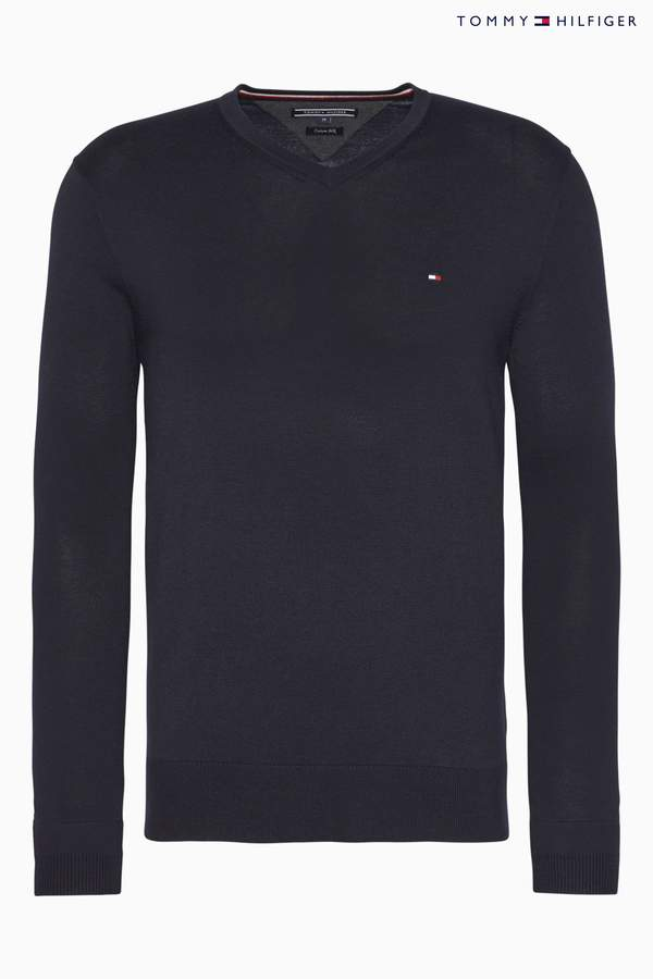 Next Mens Tommy Hilfiger Core Cotton Silk V-Neck Sweater