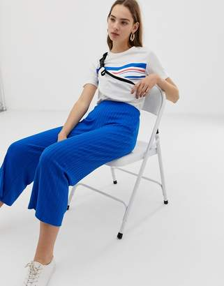 B.young ribbed trousers-Blue