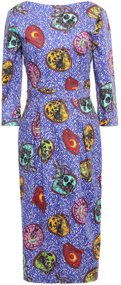 Stella Jean Cutout Grosgrain-trimmed Cotton-blend Midi Dress