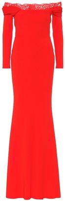 Alexander McQueen Lace-trimmed crApe gown