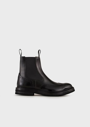 Emporio Armani Brushed-Leather, Wingtip Beatle Boots