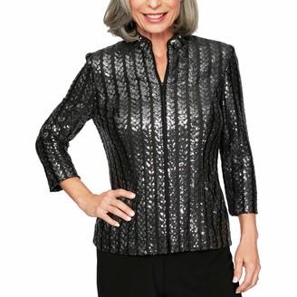 Alex Evenings Women's 3/4 Sleeve Zip Jacket