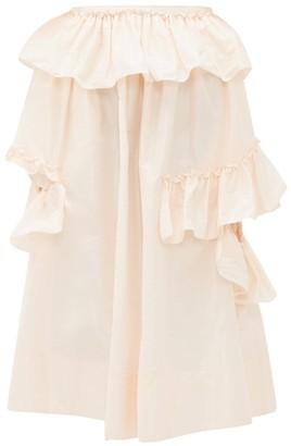 Simone Rocha Ruffled Cut-out Taffeta Midi Skirt - Pink