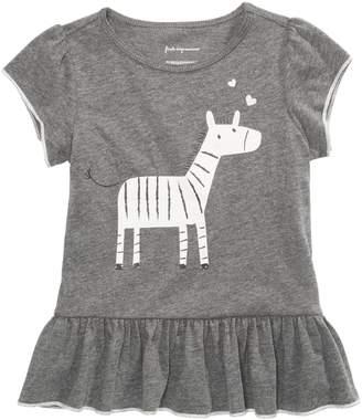 First Impressions Baby Girl's Zebra-Print Flounce-Hem Top