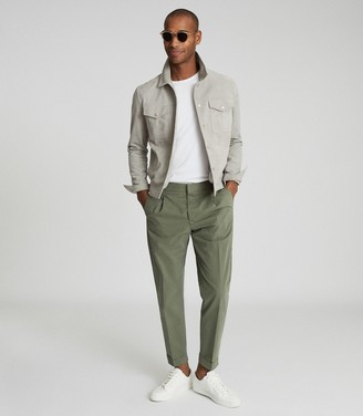 Reiss RAMSAY PLEAT FRONT TAPERED TROUSERS Khaki