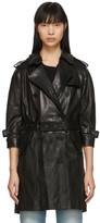 R 13 Black Leather Three-Quarter Sleeve Trench Jacket