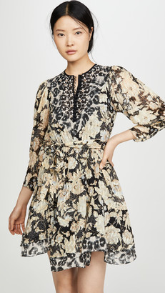 Rebecca Taylor Long Sleeve Print Mix Dress