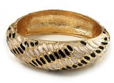 Avalaya Gold Plated Animal Pattern Hinged Bangle Bracelet (Black & White)