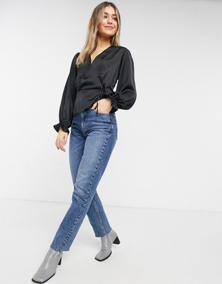 New Look satin wrap puff sleeve blouse in black
