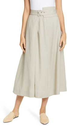 Fabiana Filippi Belted Stretch Linen & Cotton Midi Skirt