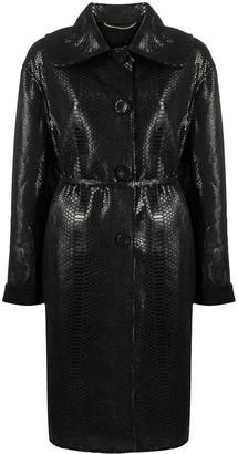 Ermanno Scervino Button Up Snakeskin Print Coat