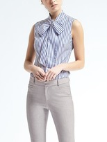 Banana Republic Riley-Fit Bow-Neck Stripe Shirt
