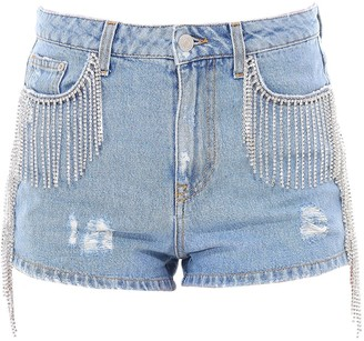 Chiara Ferragni Embellished Fringe Distressed Shorts