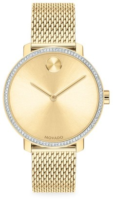 Movado Bold Yellow Gold Ion-Plated Stainless Steel, Crystal & Mesh-Link Bracelet Watch