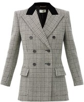 Thumbnail for your product : Saint Laurent Double-breasted Prince Of Wales-check Wool Blazer - Grey White