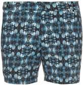 DAN WARD Leaf-print solid swim shorts