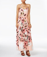 B. Darlin Juniors' Floral-Print Pleated Maxi Dress