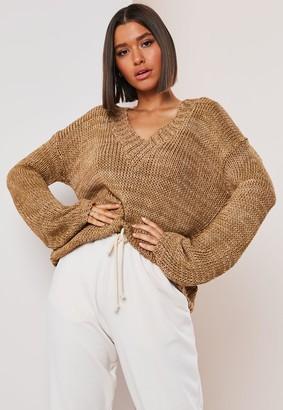 Missguided Camel V Neck Wide Sleeve Knitted Jumper