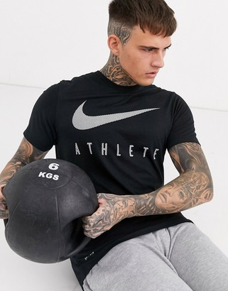 Nike Training athlete swoosh t-shirt in black