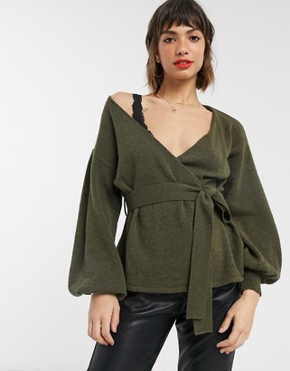 Asos DESIGN volume sleeve wrap jumper