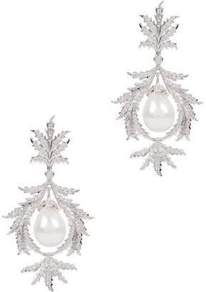 Fallon Juniper Wreath Silver-tone Embellished Drop Earrings