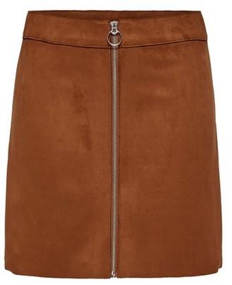 Dorothy Perkins Womens Only Brown Suedette Zip Skirt, Brown